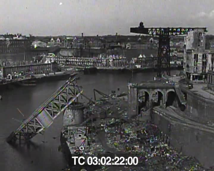 Harbor and scenes of wreckage, Brest, France
